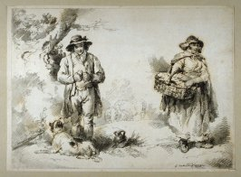 Shepherd peeling apple with dog at his feet, woman with basket on right