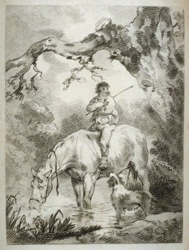 Man on horseback in stream, horse drinking water and dog watching them