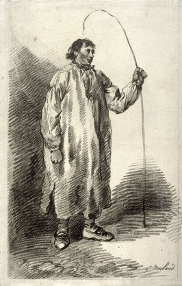 Man standing, holding horsewhip in left hand