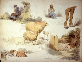 Sketches of - farm animals, an old man and two little girls