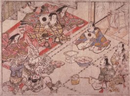 Shutendoji Entertains Raiko  and his Retainers at  Mount Oe, sheet no. 11 (?) from an untitled series of illustrations of the legend of Shutendoiji