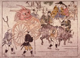 Pulling the Devil's Head into Kyoto on an Ox Cart, number 18 from an untitled series of illustrations of the legend of Shutendoji