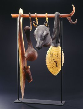 Suspended Artifact: Jackal Mask with Baleen and Gourd