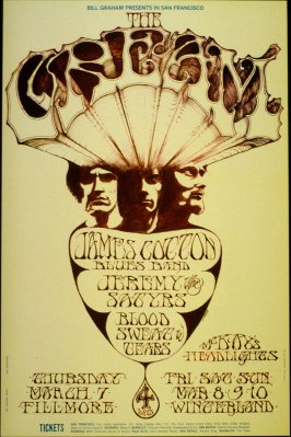 Cream, James Cotton Blues Band, Jeremy & the Satyrs, Blood, Sweat & Tears, March 7, Fillmore Auditorium, March 8 - 10, Winterland