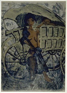 Zigeunerin mit Kind vor dem Planwagen (Gypsy Woman with Child before a Covered Wagon)