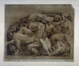 Relief sculpture, two nude women and one man with dolphins