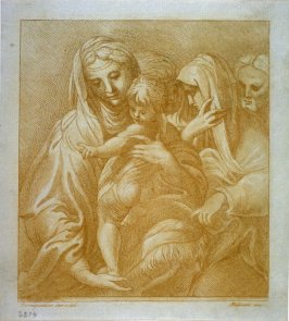 [Virgin and child with three saints looking on]