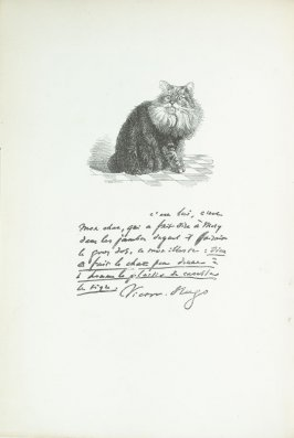 """Le chat de Victor Hugo (the cat of Victor Hugo),"" pg. IV, in the book Les Chats (Cats) by Champfleury (Paris: J. Rothschild, 1870)."