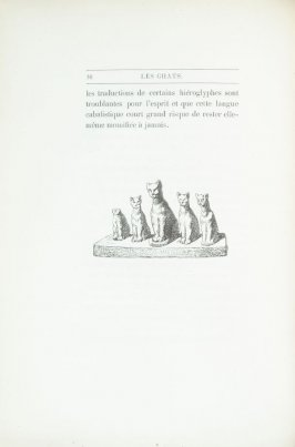 """Groupe de chats, d'après un monument égyptien"", pg. 16, in the book Les Chats (Cats) by Champfleury (Paris: J. Rothschild, 1870)."