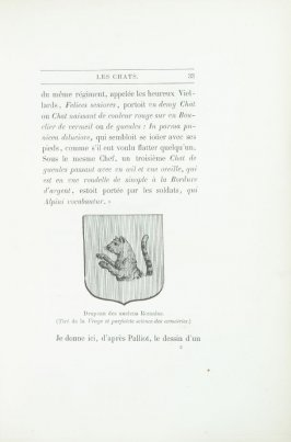 """Drapeau des anciens Romains (Tiré de la Vraye et parfaicte science des armoiries),"" pg. 33, in the book Les Chats (Cats) by Champfleury (Paris: J. Rothschild, 1870)."