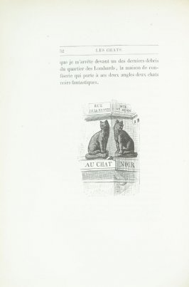 """Enseigne du Chat-Noir, rue Saint-Denis"", pg. 52, in the book Les Chats (Cats) by Champfleury (Paris: J. Rothschild, 1870)."