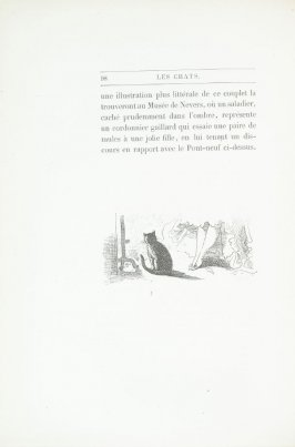 """Au coin du feu,"" end device pg. 98, in the book Les Chats (Cats) by Champfleury (Paris: J. Rothschild, 1870)."
