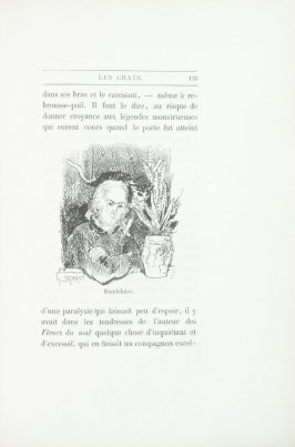 """Portrait of Baudelaire,"" pg. 133, in the book Les Chats (Cats) by Champfleury (Paris: J. Rothschild, 1870)."
