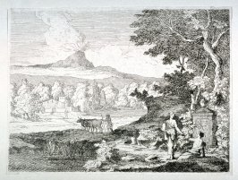 Landscape with two women in front of Centaph right foreground; man driving two cattle toward farm buildings middle distance; mountains in background