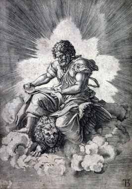 copy of Agostino Veneziano's engraving of St. Mark after Giulio Romano