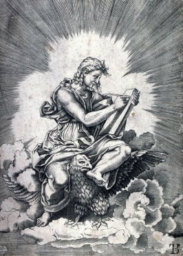 copy after Agostino Veneziano's engraving St. John, after Giulio Romano