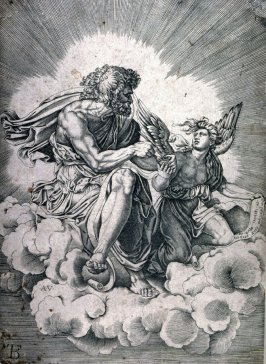 copy in reverse after Agostino Veneziano's engraving St. Mathew, after Giulio Romano