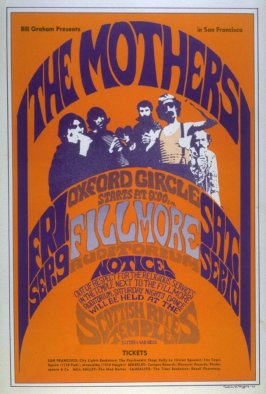 The Mothers, Oxford Circle, September 9, Fillmore Auditorium, September 10, Scottish Rites Temple