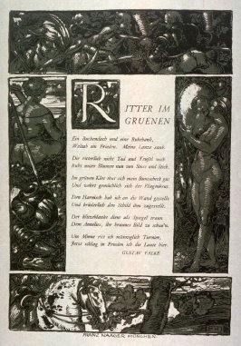"Border illustration for the poem ""Ritter im Gruenen (Knight in the Greens)"" by Gustav Falke"
