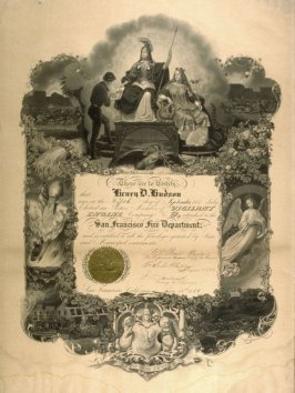 Certificate from the San Francisco Fire Department for Henry D. Hudson, September 18, 1858