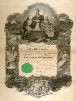 Certificate from the San Francisco Fire Department for John J. Mundwyler, October 19, 1861
