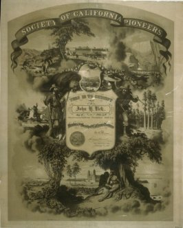 Certificate of Membership from the Society of California Pioneers for James Lick