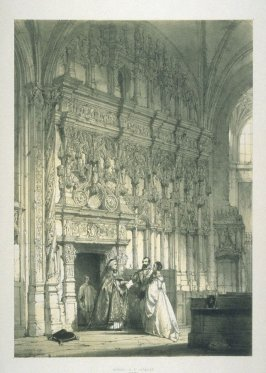 Screen in St. Jacques, Dieppe,plate 1 in the incomplete disbound book, Architecture of the Middle Ages (London: T[homa]s Maclean, 1838)