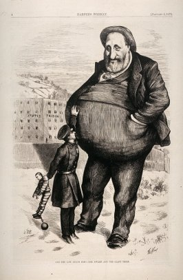 Can the Law Reach Him? - The Dwarf and the Giant Killer, from Harper's Weekly, (January 6, 1872), p. 8