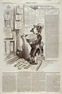 """""""With the Utmost Respect"""" - Our Artist as the Good (?) Samaritan, from Harper's Weekly, (December 30, 1876), p. 1061"""