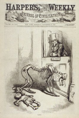 Waiting, from Harper's Weekly, (November 25, 1876), cover page