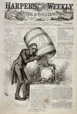 The Prospect in New York, from Harper's Weekly, (November 11, 1876), cover page
