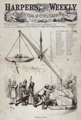 This Will Be a Change, from Harper's Weekly, November 4, 1876, cover page