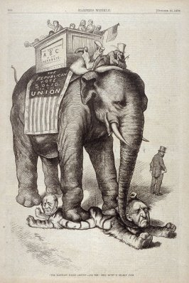 """""""The Elephant Walks Around"""" and the """"Still Hunt"""" Is Nearly Over, from Harper's Weekly, (October 28, 1876), p.868"""