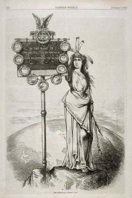 The Centennial Trophy Ours, from Harper's Weekly, (October 7, 1876), p. 816