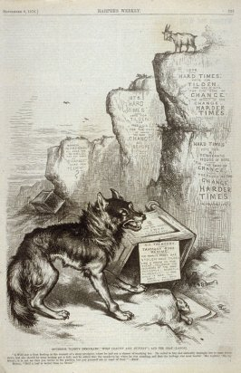"""Governor Tilden's Democratic Wolf (""""Gaunt and Hungry"""") and the Goat (Labor), from Harper's Weekly, (September 9, 1876), p. 733"""