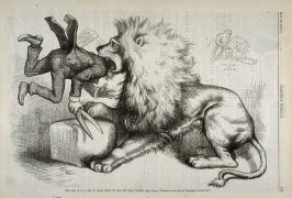 The Lion (U.S.G.) Not in Love. Went To Clip, But Was Clipped, from Harper's Weekly, (May 27, 1876), p. 429