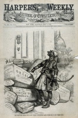The Corruption Period. The Latest Foreign Contribution Laid at the Door of the White House, from Harper's Weekly, (May 6, 1876), cover page