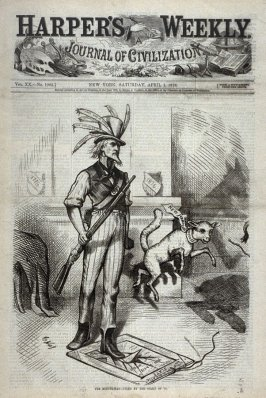 The Minute Man - Fixed By the Spirit of '76, from Harper's Weekly, (April 1, 1876), cover page
