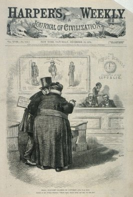 Shall Teachers' Salaries Be Lowered?, from Harper's Weekly, (December 19, 1874), cover page