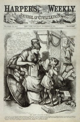 """The """"Funny"""" Little Boy In Trouble, from Harper's Weekly, (November 28, 1874), cover page"""