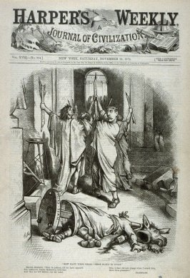 How Many Times Shall Caesar Bleed In Sport, from Harper's Weekly, (November 21, 1874), cover page