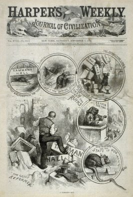 A Tammany Rat, from Harper's Weekly, (November 7, 1874), cover page