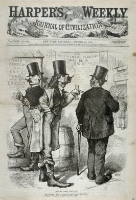 Not So Easily Taken In, from Harper's Weekly, (October 31, 1874), cover page