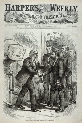 """Precious Jewel of Thy Home Return"", from Harper's Weekly, (September 5, 1874), cover page"