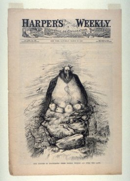 Our System of Feathering Nests..., from Harper's Weekly, (March 27, 1886), cover page