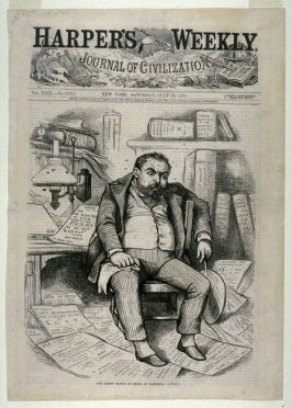 """Our Artist Trying to Think of Something """"Funny"""", FROM HARPER'S WEEKLY, (JULY 19, 1879, cover page"""