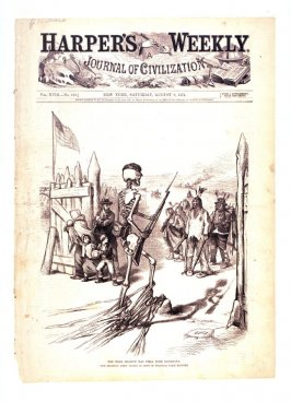 The Mere Shadow Has Some Backbone, from Harper's Weekly (August 8, 1874), cover page