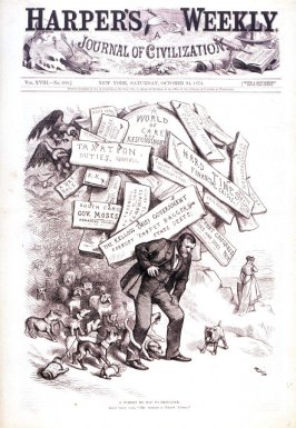 A Burden He Has To Shoulder, from Harper's Weekly, October 24, 1874, cover page