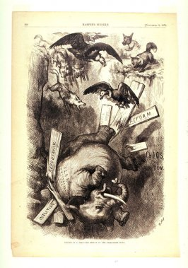Caught In a Trap..., from Harper's Weekly, (November 21m 1874), p. 960