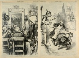 Thanksgiving on the Other Side No. 1, from Harper's Weekly, (December 8, 1877), pp. 964-965